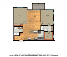 B6 / Two Bedroom / 1041 Sq. Ft.